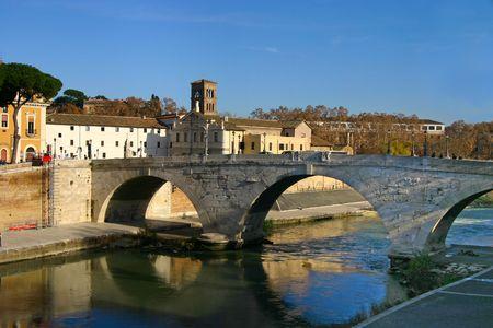 A bridge over the river Tiber in Central Rome
