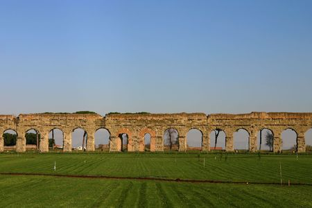aqueduct: Claudian Aqueduct on the outskirts of Rome Stock Photo