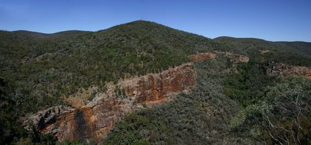 The red cliffs in the Australian outback 700 km west of Brisbane