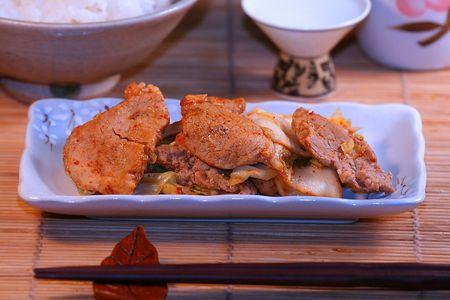 spicey: spicey korean adian agitare frittura di maiale e di verdura, babimba