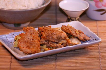 spicey korean adian stir fry pork and vegetable, babimba
