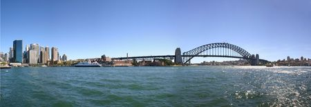 A panorama of Port Jackson and the Sydney Harbour Bridge and the CBD on the left