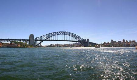 port jackson: A panorama of the Sydney harbour bridge over Port Jackson Australia Stock Photo