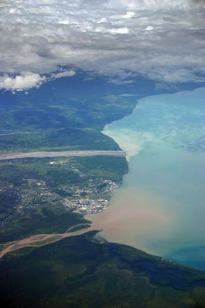 Aerial photo of the city of Lae  in Papua New Guinea, on the north east coast.