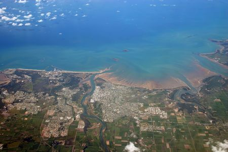 An aerial view of the city of Mackay in central Queensland, Australia Stock Photo