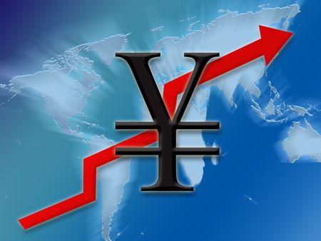 Yen symbol finance going up globally background illustration Stock Photo