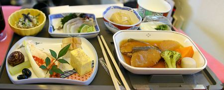 a meal in business class on an airplane flight