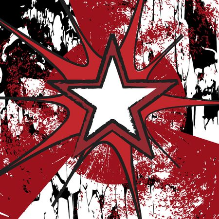 a star based grunge layout in reds and black Stock Photo