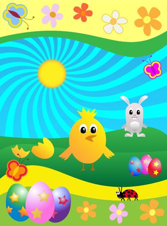 An easter theme background and layout with cute bunny photo