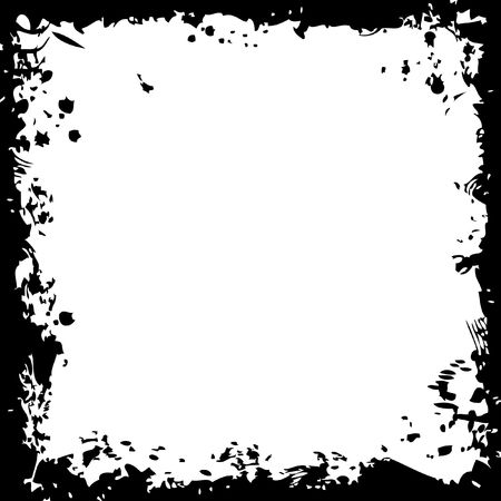 rock n roll: A grunge square border in black and white Stock Photo