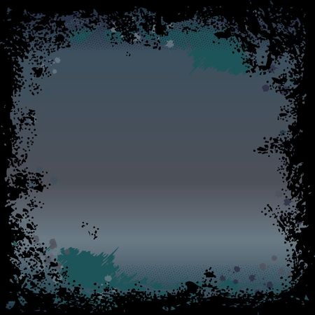 A grunge square border in teal and black Stock Photo