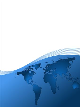 A business background world layout design in blue
