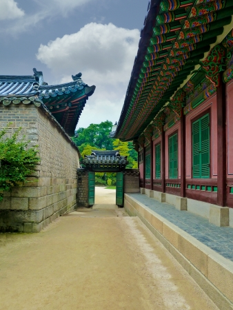 Traditional Korean architectural style in Seoul, South Korea Editorial