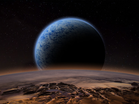 Alien planet with a close moon in orbit that has an atmosphere. Sci-fi Fantasy artwork. Stock Photo