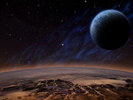 雰囲気のある軌道に近い月とエイリアンの惑星。特撮ファンタジー作品。