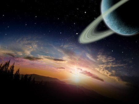 scenic background: Alien planet at sunrise or sunset with a ringed moon in orbit. Sci-fi Fantasy artwork.