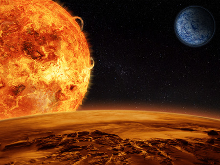 Alien sun rises over a rocky moon with the mother planet in view. Sci-fi Fantasy artwork.