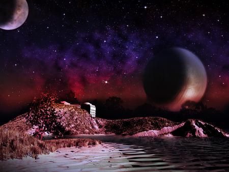 エイリアンの惑星。夜の 2 つの衛星は、湖の風景を上昇します。ベクターファンタジー風景のアーティストの印象 写真素材