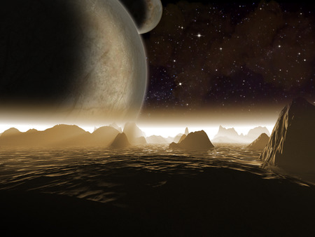alien world: Alien planet. Two moons at night rise over the landscape of a rocky moon - Artist impression of fantasy landscape