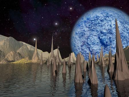 Alien planet. Large blue planet rises over the landscape with a lake. - Artist impression of fantasy landscape