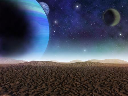 エイリアンの惑星。惑星と砂の砂漠からの衛星ビュー。ベクターファンタジー風景のアーティストの印象