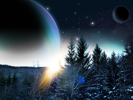 Alien planet. Sunrise from behind a gas ginat as seen from a forest of on alien moon. - Artist impression of fantasy landscape Stock Photo - 28837345