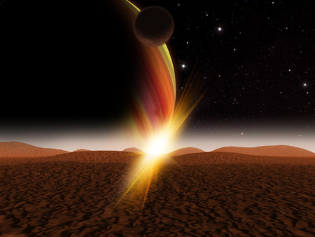 エイリアンの惑星。外国人のセーラームーンのような砂漠の太陽の上昇。ベクターファンタジー風景のアーティストの印象