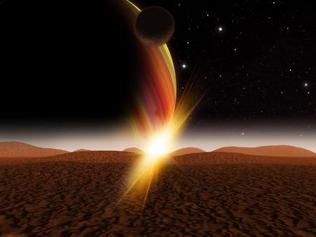 Alien planet. The sun rise on a desert like alien moon. - Artist impression of fantasy landscape