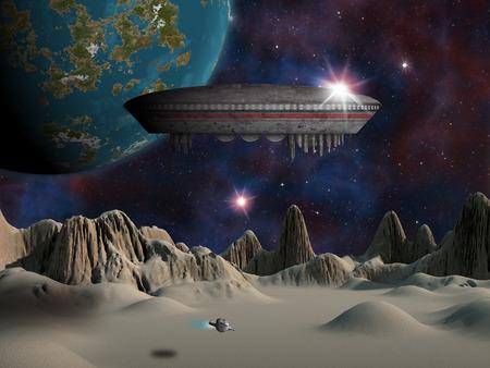 エイリアン スペース クラフトや UFO を背景に地球のような惑星でエイリアン月置いた。