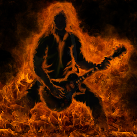 A guitarist done in the shape of fire and flames