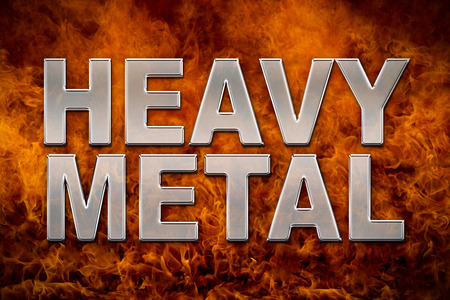 rupture: Heavy metal and fire background and banner. Stock Photo