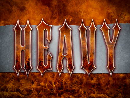 Heavy Metal wording made from flames and chromemetalsteel on a grunge silver metallic background with cool flames.