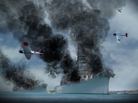 Digital Oil Painting of an attack similar to Pearl Harbor in World War 2. Stock Photo