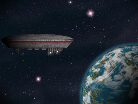 impression: An alien space craft or UFO near an earth-like planet. Artist Impression.