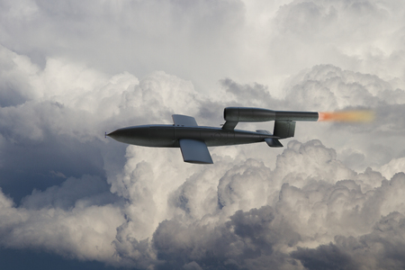 world war 2: V1 Flying Bomb of World War 2 used by the Germans to attack London, England. Artist Impression Digital Painting