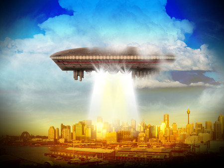 shinning: An alien UFO over a city of skyscrappers shinning a beam of light.