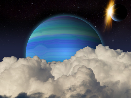 futuristic nature: Fantasy alien space scene with alien planets and moons.