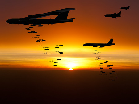 Vietnam War Era bombers dropping bombs with jet fighter aircraft escorting them at sunset. Artist's impression