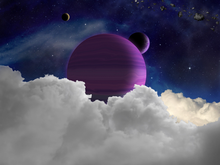 desolation: Fantasy alien space scene with alien planets and moons.