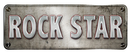 Realistic chrome rock star text with red glow on a banner or metal plate image. Stock Photo