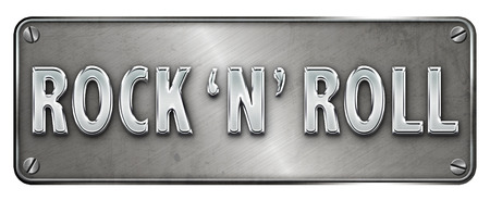 Realistic chrome rock n roll text on a banner or metal plate image.
