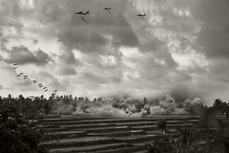 vietnam war: Vintage Style Image of American bombers doing a carpet bomb run over Vietnam or Camboida. (Artists Impression)