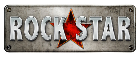 Realistic rock star image with fire star for a banner or metal plate image.