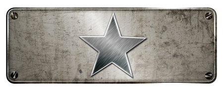 Gunge chrome steel star shape on banner or metal plate image.