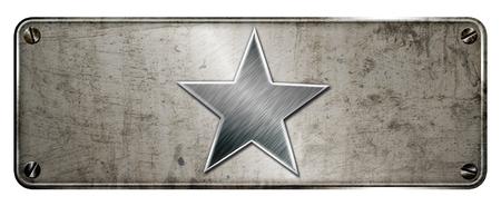 Gunge chrome steel star shape on banner or metal plate image.