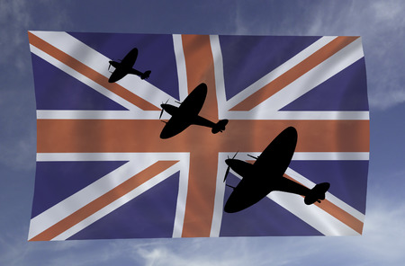 Battle of Britain Banner featuring a British  plane made famous during the summer of 1940.