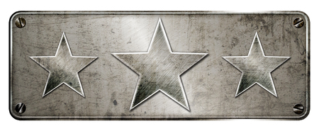 Gunge chrome steel 3 star shapes on banner or metal plate image.