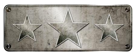 Gunge chrome steel 3 star shapes on banner or metal plate image.
