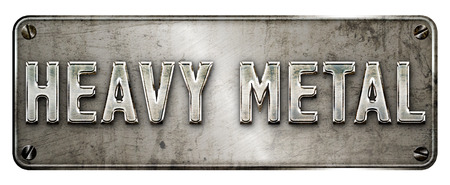 hard: Realistic grunge steel heavy metal text on a banner or metal plate image. Stock Photo