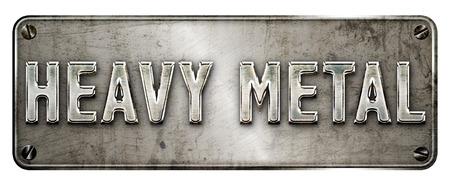 Realistische grunge stalen 'heavy metal' text afbeelding van een banner of een metalen plaat op. Stockfoto